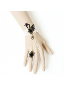 White Lace Black Swan Lolita Bracelet And Ring Set