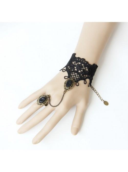 Gothic Lace Handmade Lolita Bracelet And Ring Set