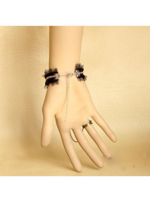 Sexy Retro Black Lace Lolita Bracelet And Ring Set