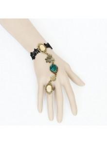 Lovely Rose Black Lace Handmade Lolita Bracelet And Ring Set
