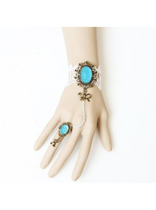 Romantic White Lace Bow Handmade Lolita Bracelet And Ring Set