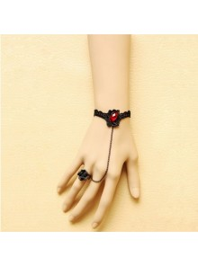 Charming Black Lace Handmade Lolita Bracelet And Ring Set