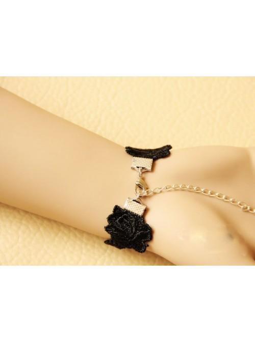 Charming Black Lace Handmade Lolita Bracelet And Ring Set