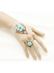White Lace Sweet Sakura Lolita Bracelet And Ring Set