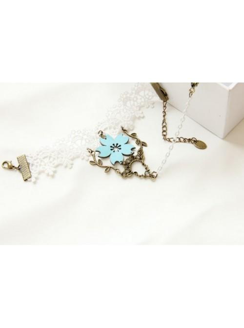 White Lace Sweet Sakura Lolita Bracelet And Ring Set