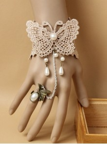 Retro Lace Butterfly Lolita Bracelet And Ring Set