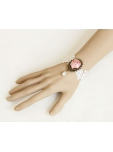 White Lace Bead Sweet Rose Lolita Wrist Strap
