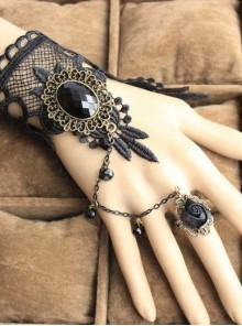 Punk Black Lace Rose Lolita Bracelet And Ring Set