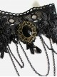 Punk Black Lace Rose Lolita Bracelet And Ring Set