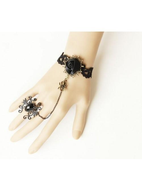 Black Lace Floral Lady Lolita Bracelet And Ring Set