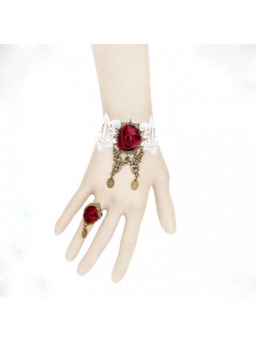 Retro Rose Lace Handmade Lolita Bracelet And Ring Set
