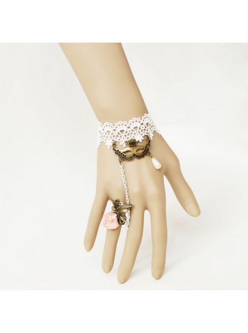 Retro Lace Floral Queen Lolita Bracelet And Ring Set