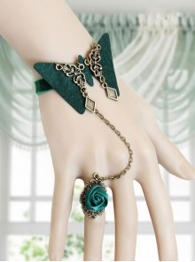 Retro Green Butterfly Lolita Bracelet And Rose Ring
