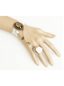 White Lace Gorgeous Exaggerated Leopard Print Lolita Bracelet And Ring Set