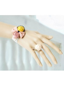 Sweet Floral Girls Lolita Bracelet And Ring Set