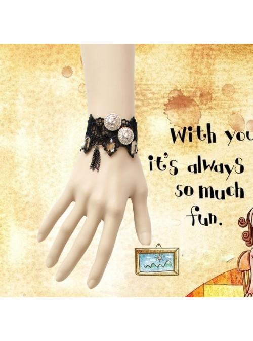 Punk Black Lace Tassel Lolita Wrist Strap
