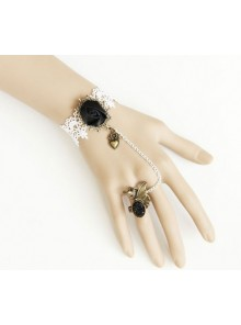 White Lace Retro Floral Lolita Bracelet And Ring Set
