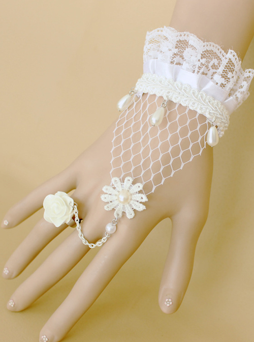 Sweet White Lace Rose Handmade Lolita Wrist Strap