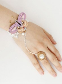 Rococo Purple Butterfly Bracelet And White Pearl Ring
