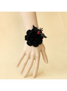 Black Angel Floral Bat Lolita Wrist Strap