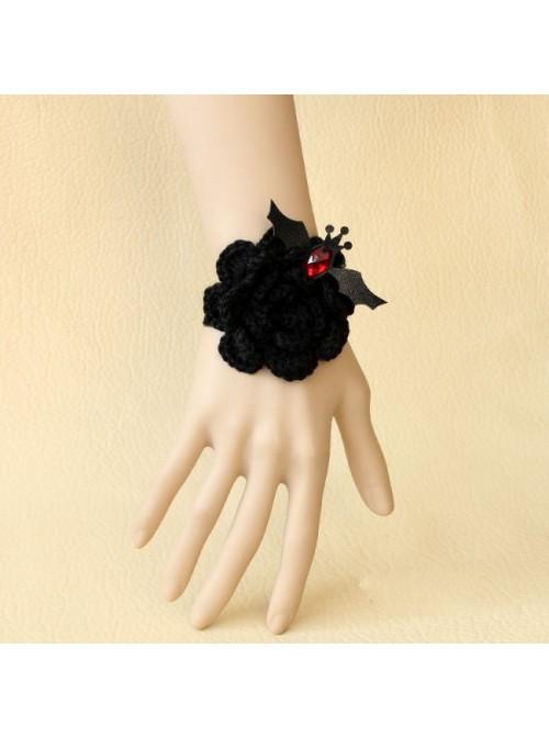 Black Angel Floral Bat Lolita Wrist Strap