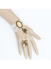 Retro Lace Handmade Lady Lolita Bracelet And Ring Set