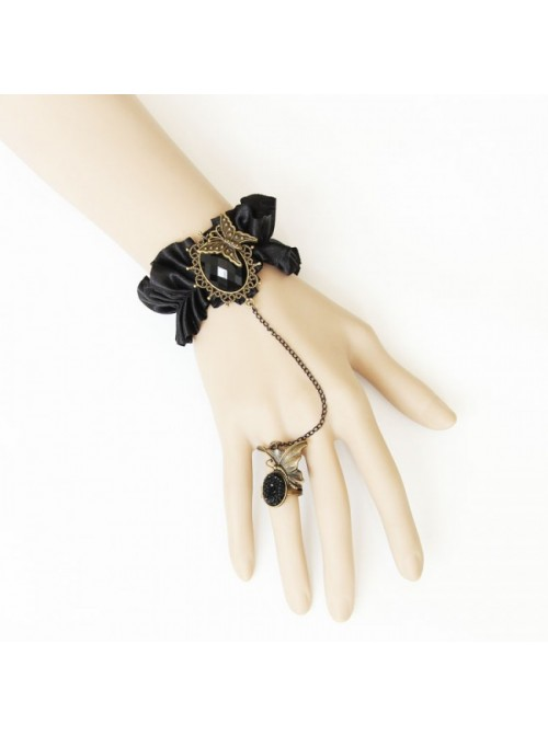 Charming Black Butterfly Lady Lolita Bracelet And Ring Set