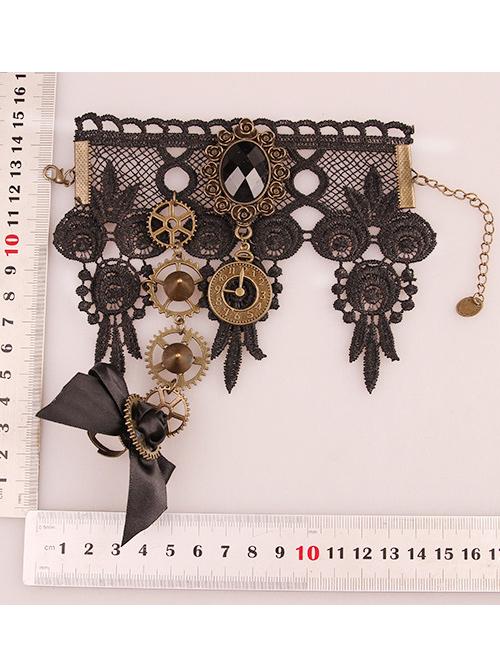 Black Lace Gears Decorate Lolita Wrist Strap