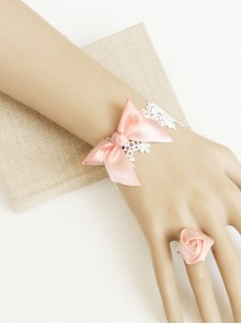 Pink Bowknot Girls Lolita Bracelet And Ring Set