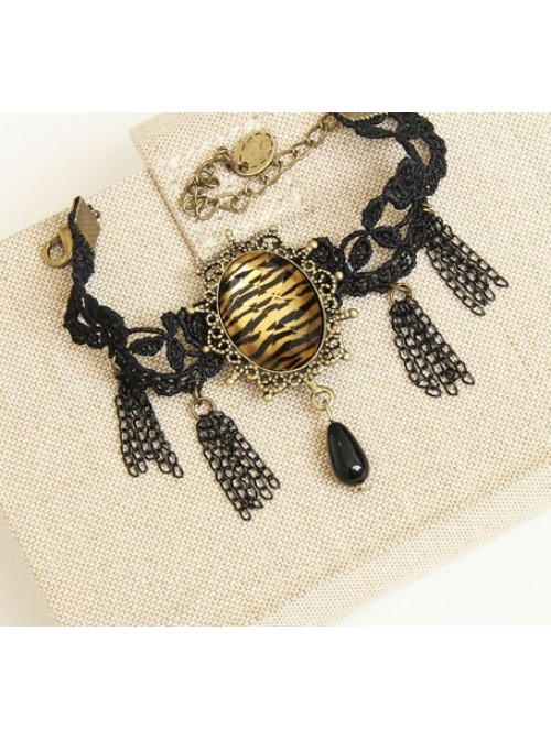 Gothic Black Lace Tassel Lady Lolita Bracelet And Ring Set