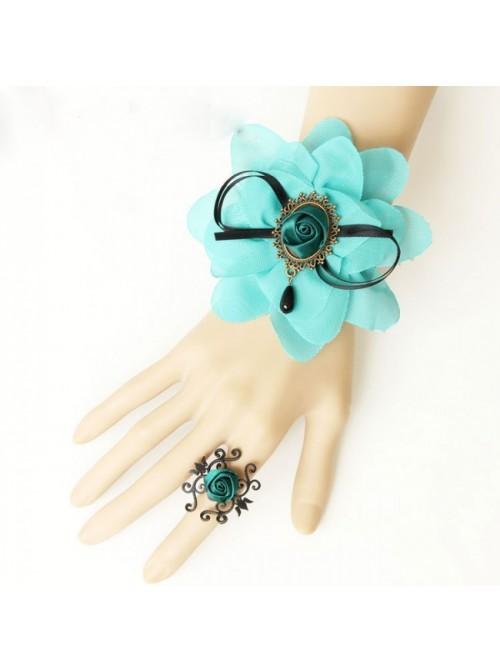 Blue Chiffon Floral Girls Lolita Bracelet And Ring Set