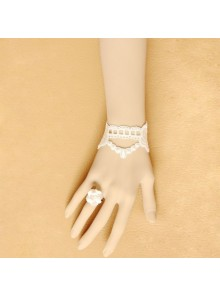 Beautiful White Lace Floral Retro Lolita Bracelet And Ring Set