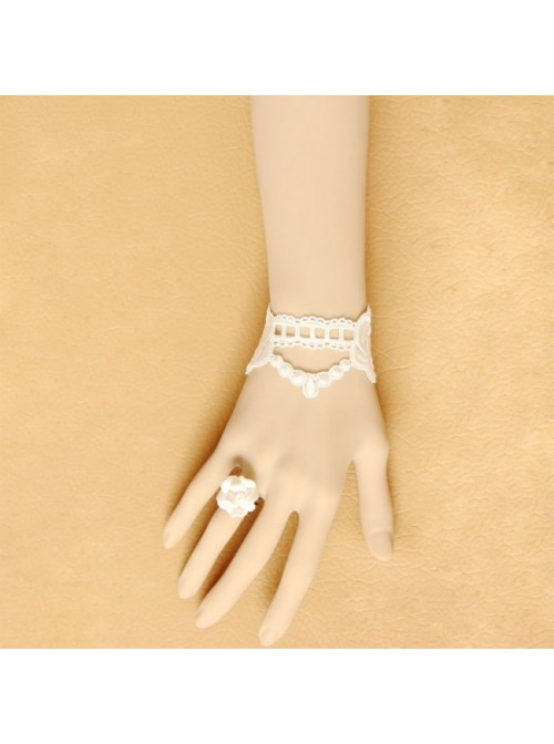 Beautiful White Lace Floral Retro Lolita Bracelet And Ring Set