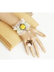 White Lace Cute Floral Mori Girl Lolita Bracelet And Ring Set