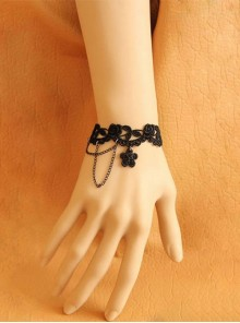 Beautiful Black Lace Girls Lolita Bracelet And Ring Set