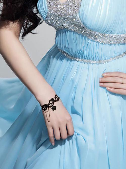 Beautiful Black Lace Girls Lolita Bracelet And Ring Set
