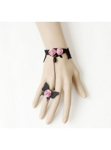 Charming Black Butterfly Pink Floral Lady Lolita Bracelet And Ring Set