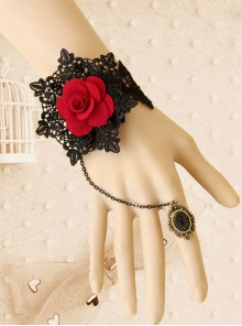 Gothic Rococo Rose Lady Handmade Lolita Bracelet And Ring Set
