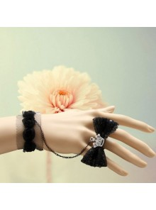 Black Bow Crown Girls Lolita Bracelet And Ring Set
