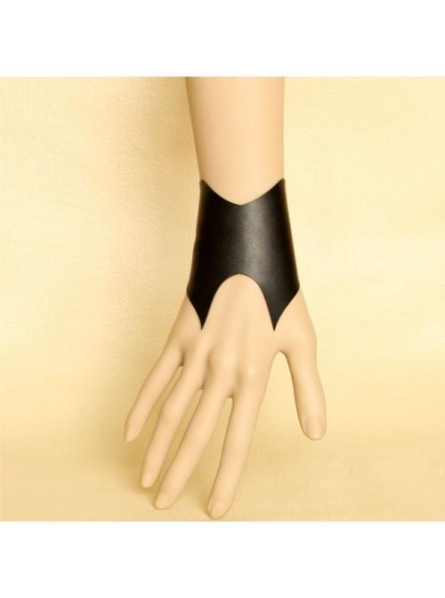 Handmade Black Concise Leather Lolita Wrist Strap