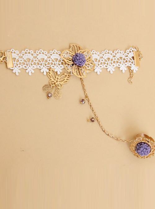 Sweet White Lace Angel Purple Flowers Girls Lolita Wrist Strap