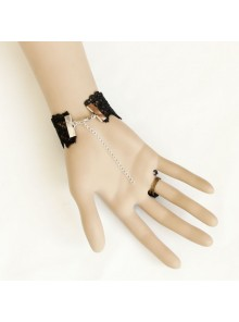 Black Rococo Rose Lady Handmade Lolita Bracelet And Ring Set