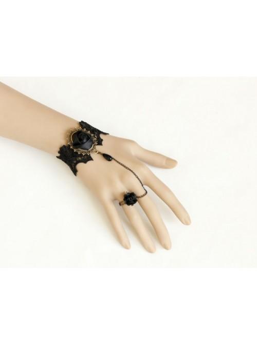 Black Rococo Rose Lady Handmade Lolita Bracelet And Ring Set