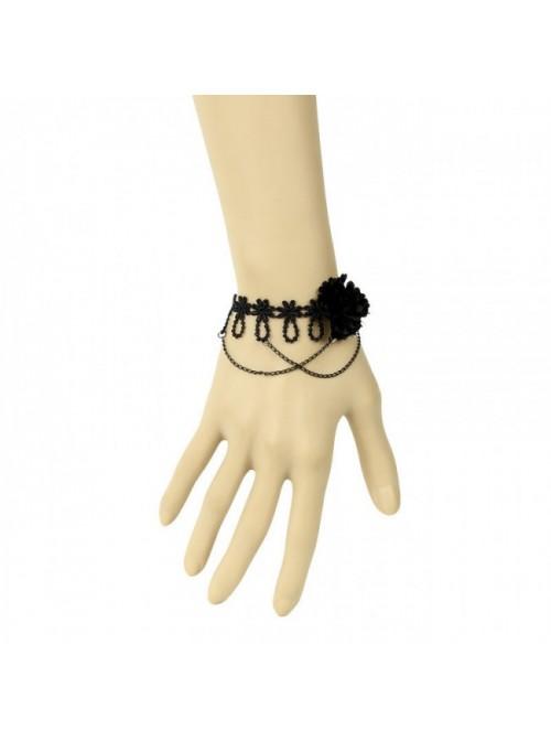 Black Lace Floral Metal Chain Lady Lolita Wrist Strap