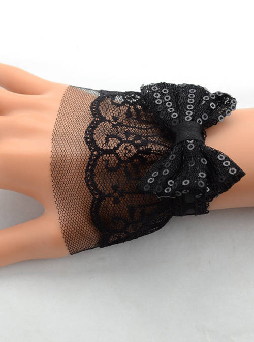 Handmade Black Lace Bowknot Lady Lolita Wrist Strap