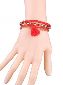 Red Concise Tassel Girls Lolita Wrist Strap