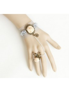 Retro Lace Flowers Lolita Bracelet And Ring Set