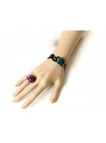 Wonderful Gothic Lace Rose Lady Lolita Bracelet And Ring Set