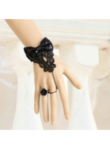 Handmade Rococo Retro Black Bowknot Lolita Bracelet And Ring Set