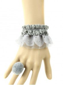 Mori Girls Lovely Gray Lolita Bracelet And Ring Set